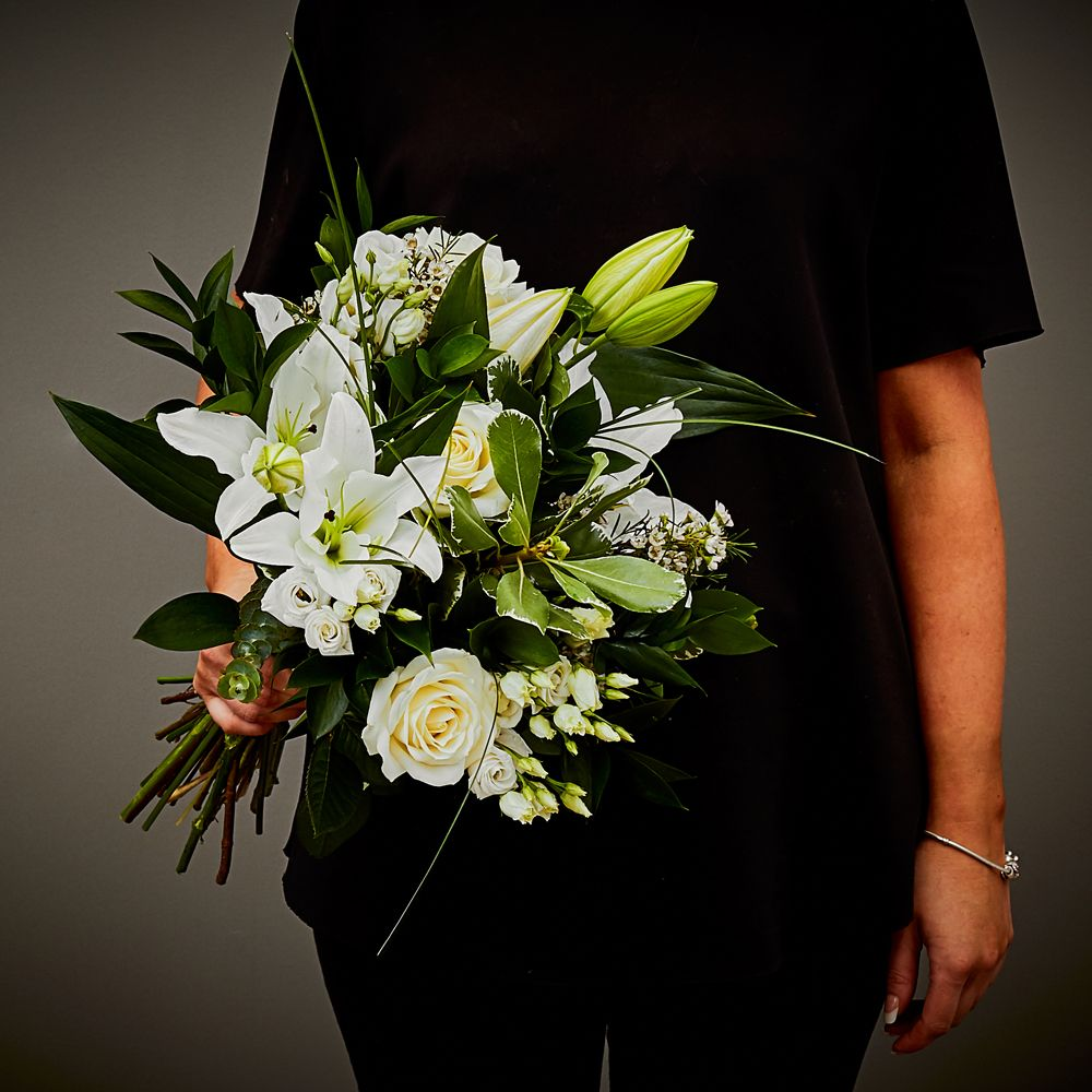 White Sympathy Hand Tied 1 Arbour Blooms