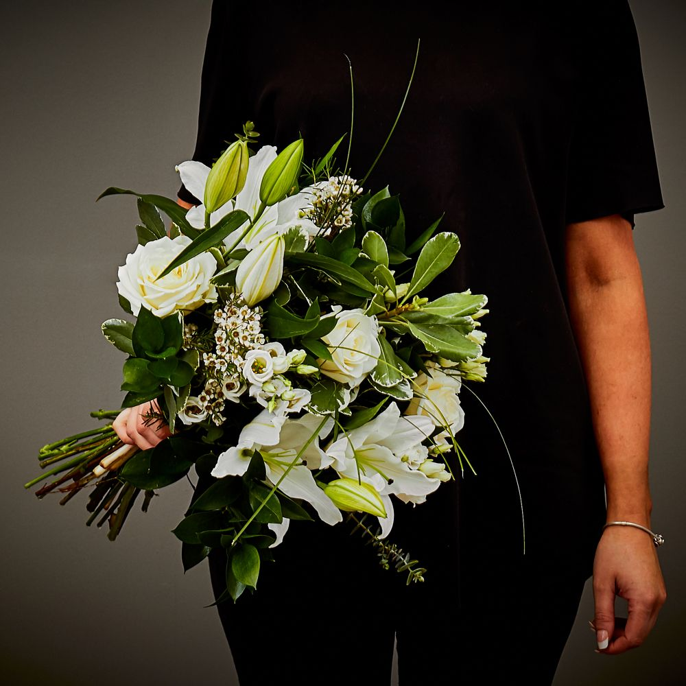 White Sympathy Hand Tied Arbour Blooms