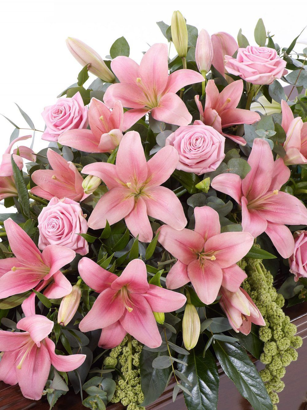 Lily And Rose Casket Spray Pink 1