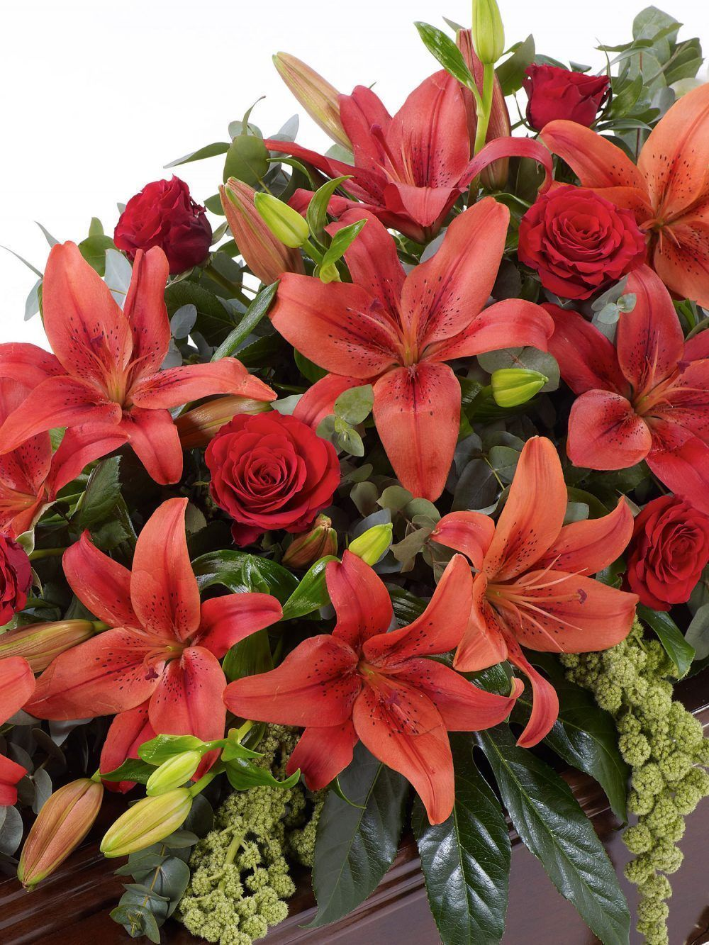 Lily And Rose Casket Spray Red 1