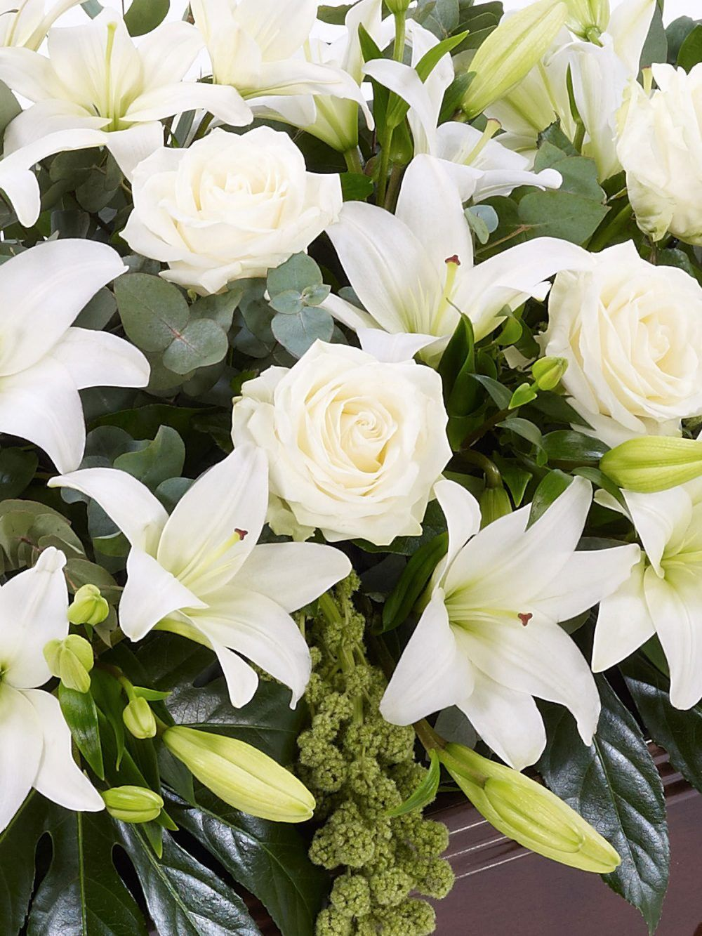 Lily And Rose Casket Spray White 1
