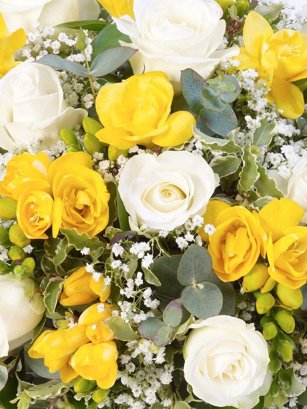 Rose And Freesia Posy Yellow And White 1