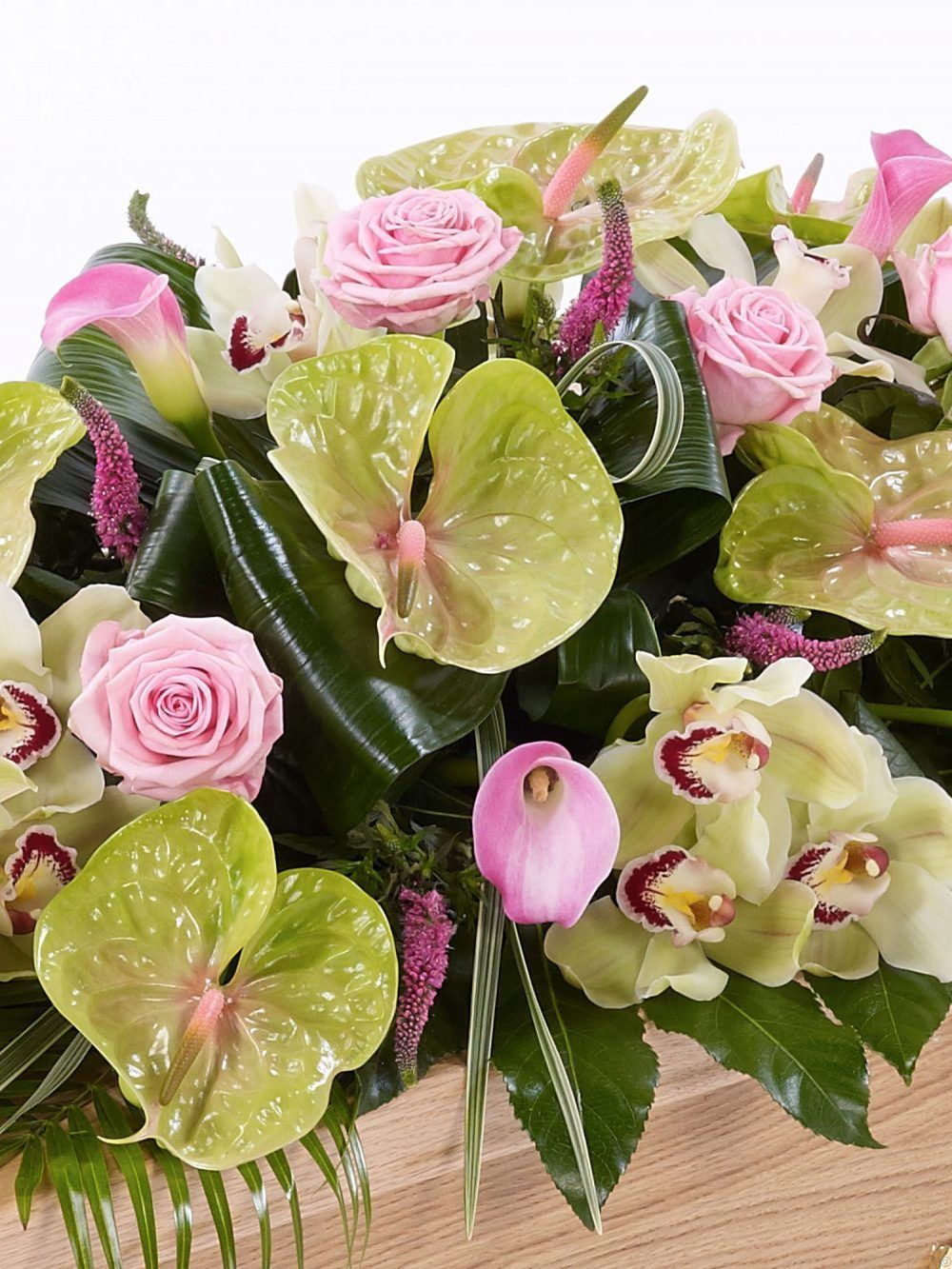 Rose Orchid And Calla Lily Casket Spray 1