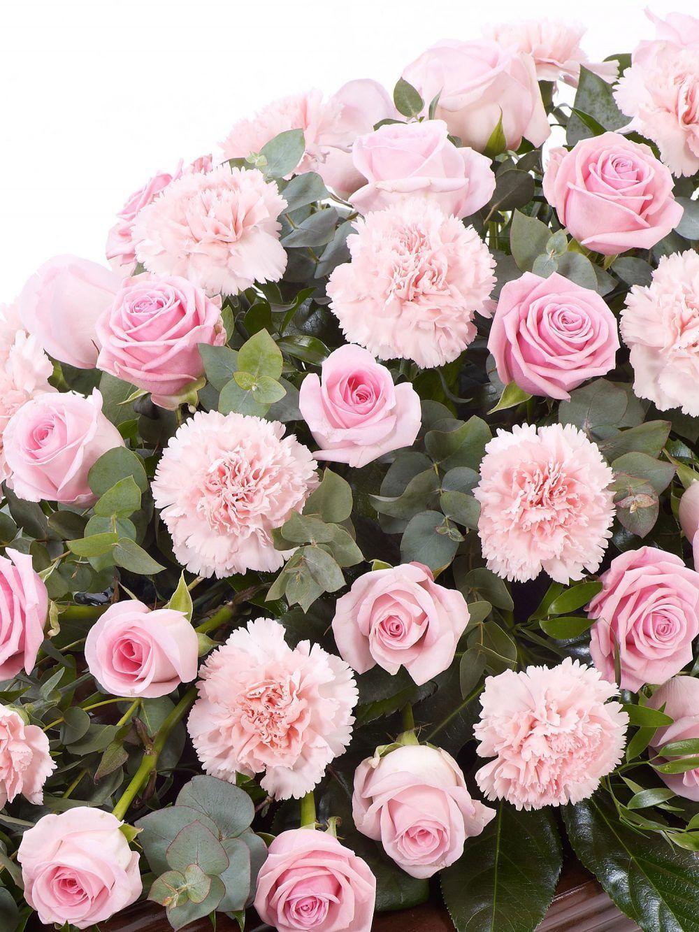 Rose And Carnation Casket Spray Pink 1