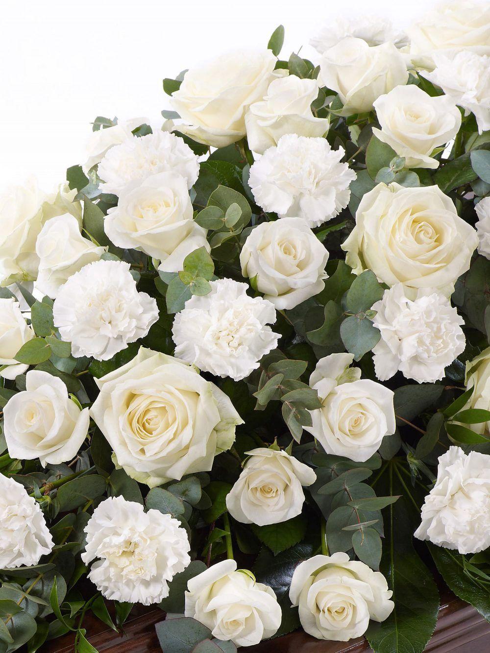Rose And Carnation Casket Spray White 1