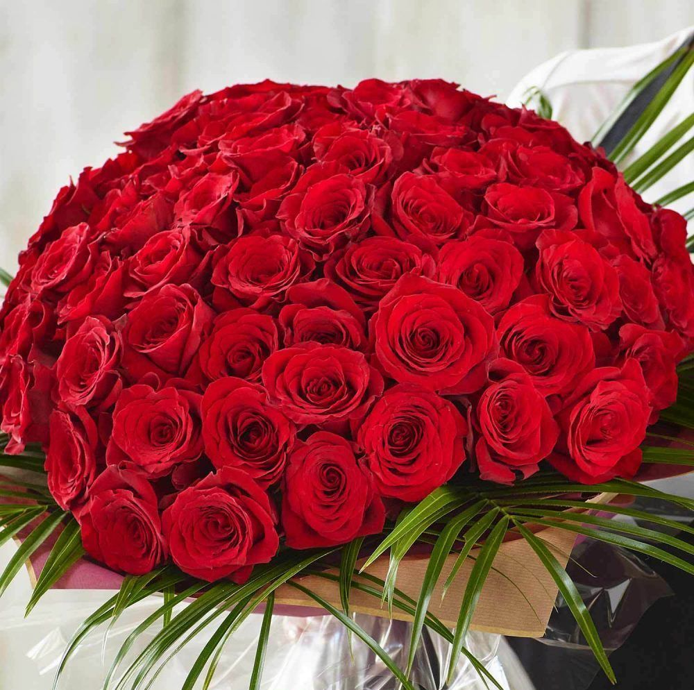Valentines 100 Red Rose Hand Tied